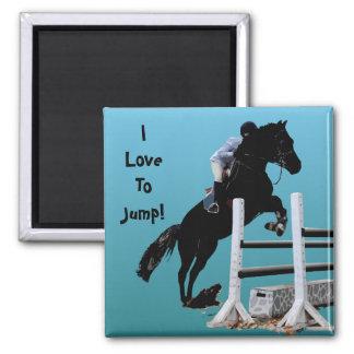 Fun Horse Jumper 2 Inch Square Magnet