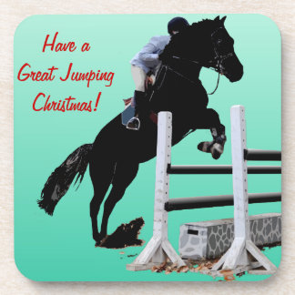 Fun Horse Jumper Christmas Beverage Coaster