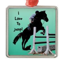 Fun Horse Jumper Metal Ornament