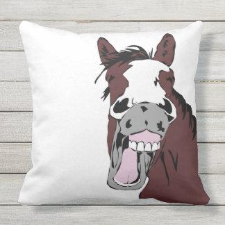 Fun Horse Laughing Cartoon Farm Animal Outdoor Pillow