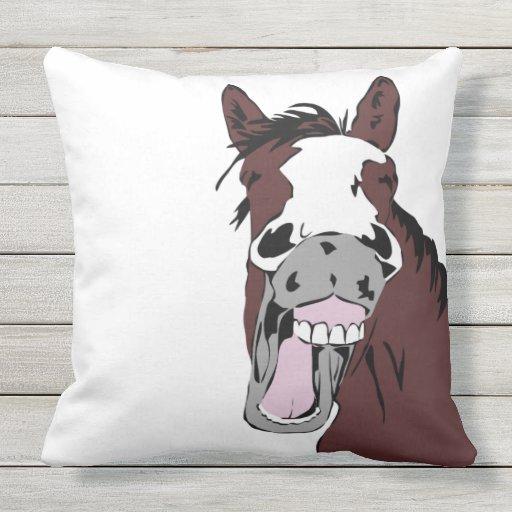 Fun Horse Laughing Cartoon Farm Animal Outdoor Pillow Zazzle
