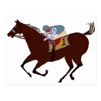 Fun Horse Racing Design Postcard