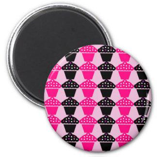 Fun Hot Pink and Black Cupcake Pattern 2 Inch Round Magnet