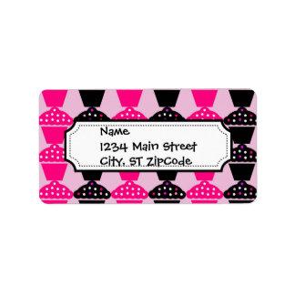 Fun Hot Pink and Black Cupcake Pattern Address Label