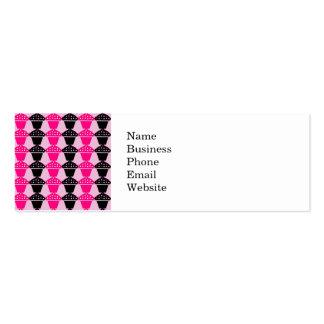 Fun Hot Pink and Black Cupcake Pattern Business Card