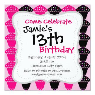 Fun Hot Pink and Black Cupcake Pattern 5.25x5.25 Square Paper Invitation Card