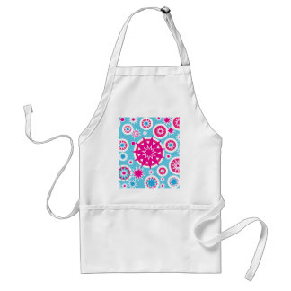 Fun Hot Pink and Blue Snowflake Stars Design Adult Apron