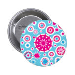 Fun Hot Pink and Blue Snowflake Stars Design Button