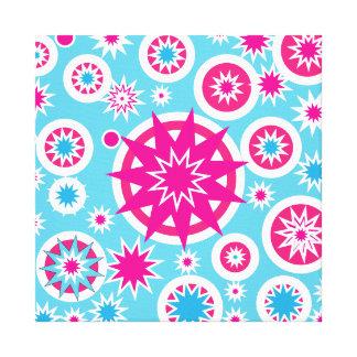 Fun Hot Pink and Blue Snowflake Stars Design Canvas Prints