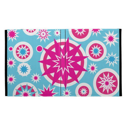 Fun Hot Pink and Blue Snowflake Stars Design iPad Folio Case