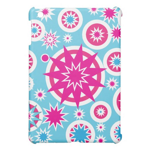 Fun Hot Pink and Blue Snowflake Stars Design Case For The iPad Mini