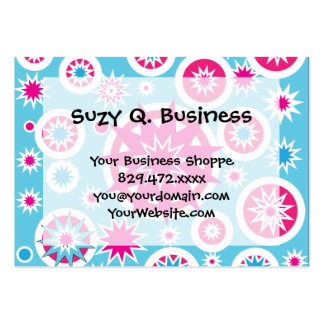 Fun Hot Pink and Blue Snowflake Stars Design Large Business Card