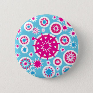 Fun Hot Pink and Blue Snowflake Stars Design Pinback Button