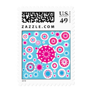 Fun Hot Pink and Blue Snowflake Stars Design Stamp