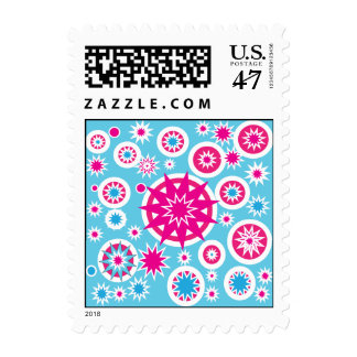 Fun Hot Pink and Blue Snowflake Stars Design Postage Stamp