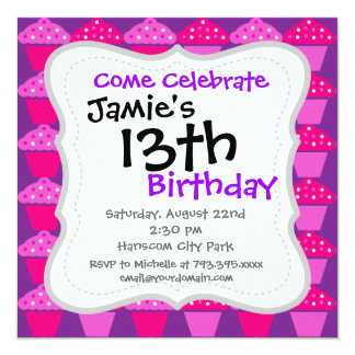 Fun Hot Pink and Purple Cupcake Pattern 5.25x5.25 Square Paper Invitation Card