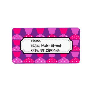 Fun Hot Pink and Purple Cupcake Pattern Label