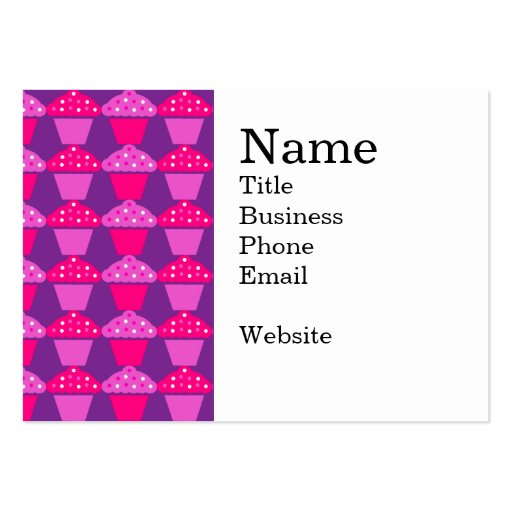 Fun Hot Pink and Purple Cupcake Pattern Large Business Cards (Pack Of 100)