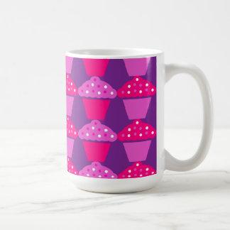 Fun Hot Pink and Purple Cupcake Pattern Coffee Mugs
