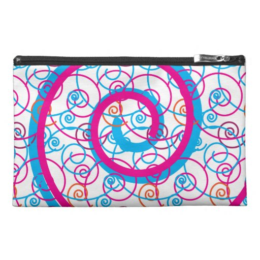 Fun Hot Pink and Teal Blue Spiral Pattern Travel Accessory Bag