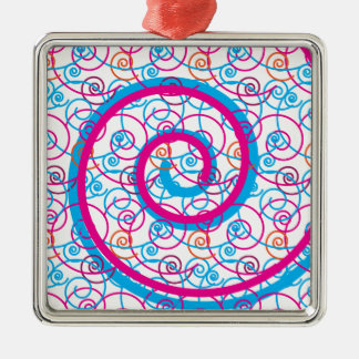 Fun Hot Pink and Teal Blue Spiral Pattern Metal Ornament