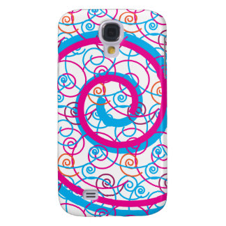 Fun Hot Pink and Teal Blue Spiral Pattern Samsung S4 Case