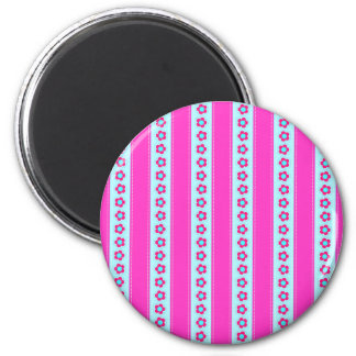Fun Hot Pink and Teal Flowers and Stripes Magnet
