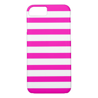 Fun Hot Pink and White Striped Pattern iPhone 7 Case