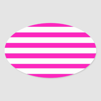 Fun Hot Pink and White Striped Pattern Oval Sticker