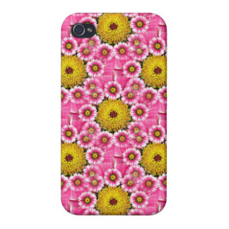 Fun Hot Pink Daisy Flower Pattern iPhone 4 Case