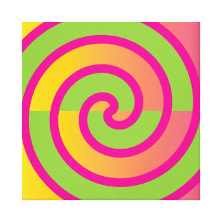 Fun Hot Pink Lollipop Swirl Design Green Yellow Gallery Wrap Canvas