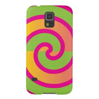 Fun Hot Pink Lollipop Swirl Design Green Yellow Galaxy S5 Cover