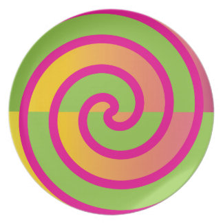 Fun Hot Pink Lollipop Swirl Design Green Yellow Melamine Plate