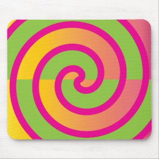 Fun Hot Pink Lollipop Swirl Design Green Yellow Mouse Pad