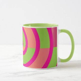 Fun Hot Pink Lollipop Swirl Design Green Yellow Mug