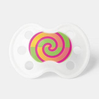 Fun Hot Pink Lollipop Swirl Design Green Yellow Baby Pacifiers