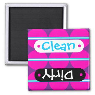 Fun Hot Pink Purple Polka Dots Teal Stripes Design 2 Inch Square Magnet