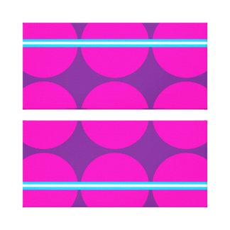 Fun Hot Pink Purple Polka Dots Teal Stripes Design Stretched Canvas Prints