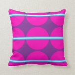 Fun Hot Pink Purple Polka Dots with Teal Stripes Pillows