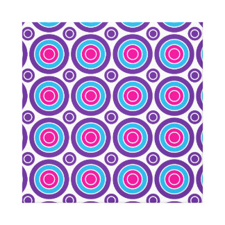 Fun Hot Pink Purple Teal Concentric Circles Design Stretched Canvas Prints