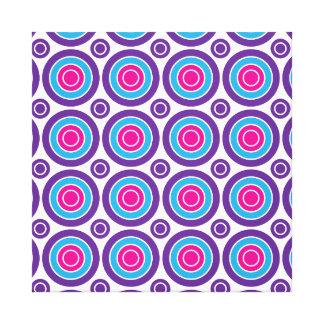 Fun Hot Pink Purple Teal Concentric Circles Design Canvas Print