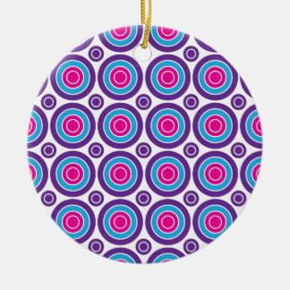 Fun Hot Pink Purple Teal Concentric Circles Design Ceramic Ornament