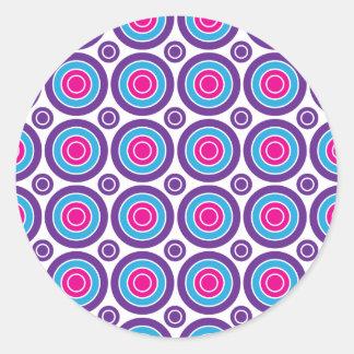 Fun Hot Pink Purple Teal Concentric Circles Design Classic Round Sticker