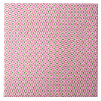Fun Hot Pink Teal and Soft Pink Diamond Pattern Ceramic Tile
