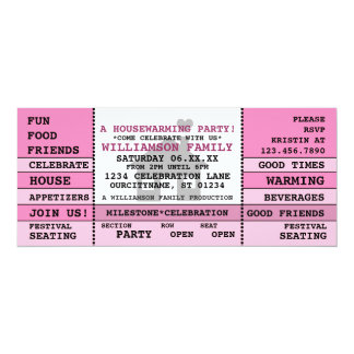 Fun Housewarming Ticket Style Invitation