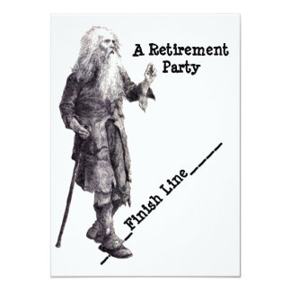 "Fun Humor Man Reaching Retirement Party Invitation 4.5"" X 6.25"" Invitation Card"