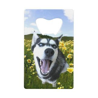 Fun Husky Dog in Wild Flowers Wallet Bottle Opener