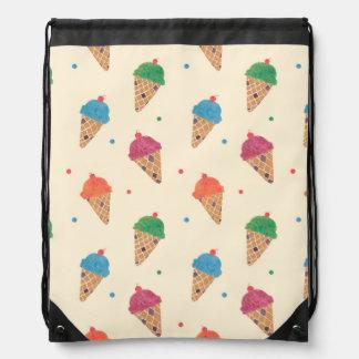 Fun Ice Cream Pattern Drawstring Bag