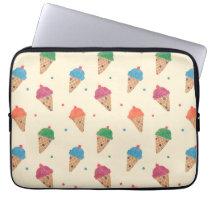 Fun Ice Cream Pattern Laptop Sleeve