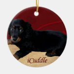 Fun iCuddle Long Hair Dachsund Ceramic Ornament